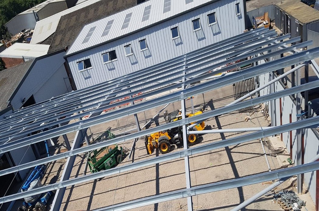 Birds eye view of steelwork installation min