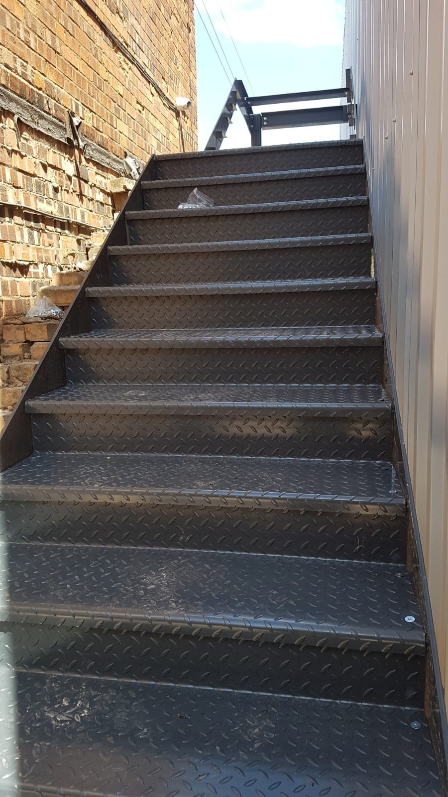 Emergency escape stairs with cladding min