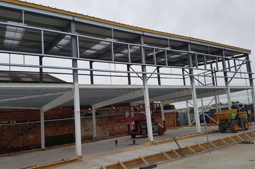 Two levels of structural steelwork install min